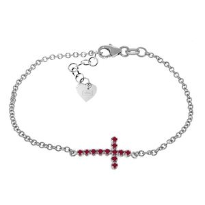 GOLD CROSS BRACELET WITH NATURAL RUBIES